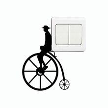 Pegatina de pared de bicicleta victoriana KG-285, pegatina Retro de vinilo para bicicleta, pegatina de interruptor Vintage, papel tapiz para el hogar