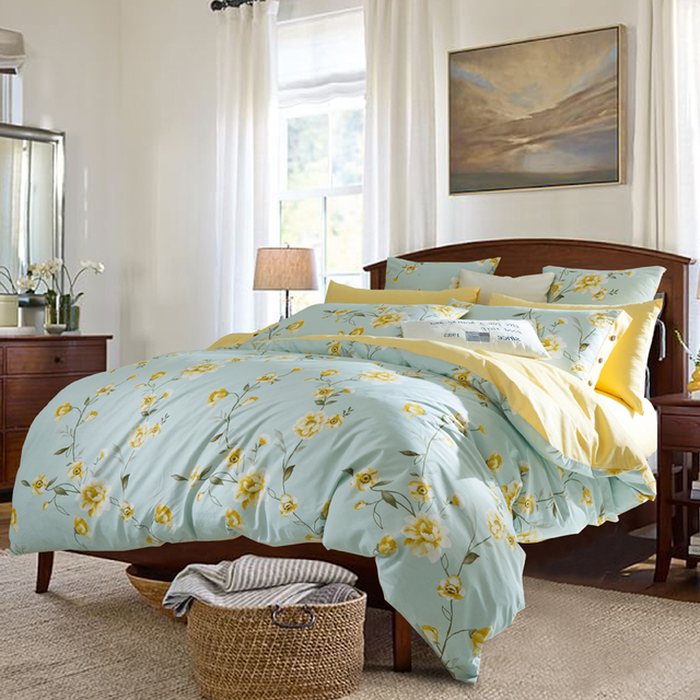 4 pcs pastoral style cotton bedding set 2017 new yellow flower 4 pcs pastoral style cotton bedding set 2017 new yellow flower pattern home bed linens duvet mightylinksfo