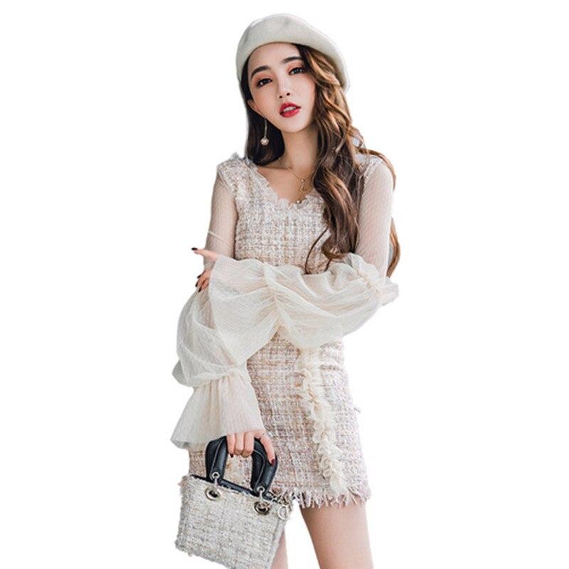 Primavera e no Outono V neck lace blusa de manga puff camisa e rendas meia de lã mini saia duas peças terno