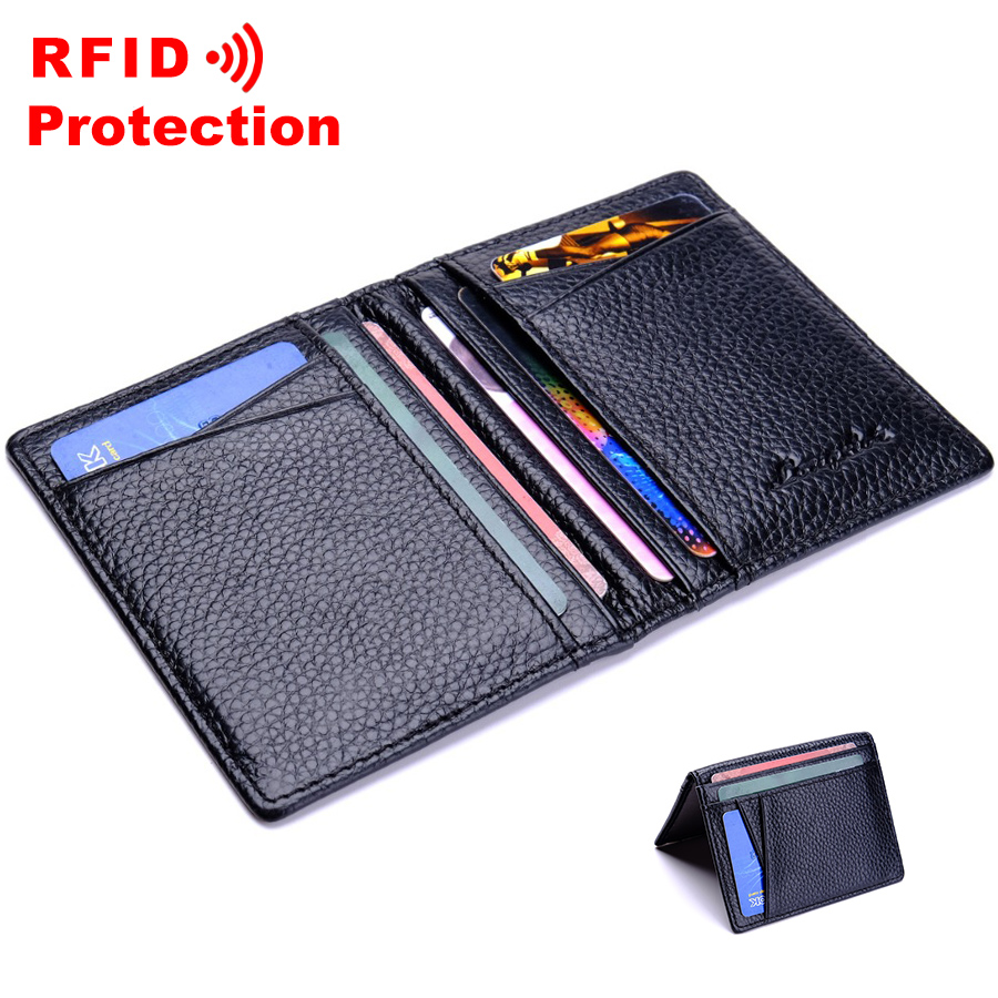 Mens Quality Ultra Slim Genuine Real Soft Leather Business ID Credit Card Holder