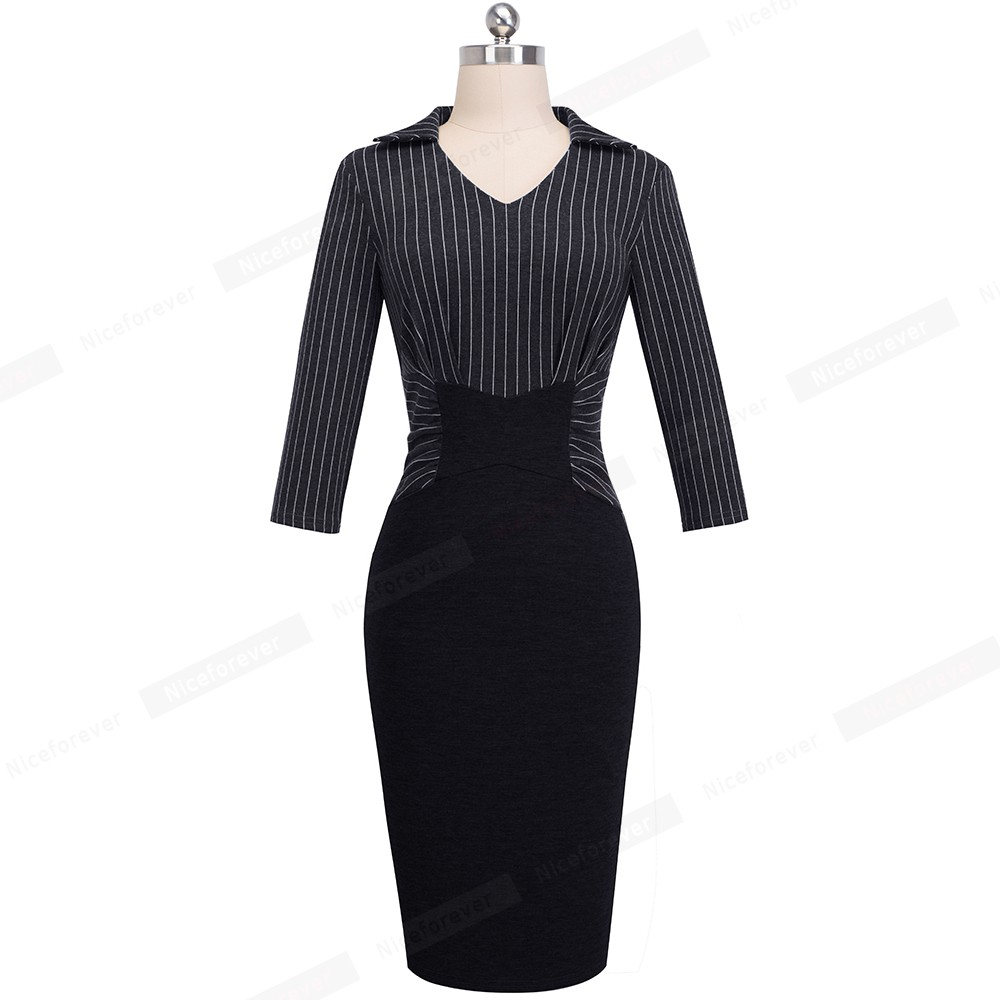 Image 5 - Nice forever Vintage Elegant Stripe Patchwork Wear to Work vestidos Business Party Bodycon Office Women Career Dress B479Dresses   -