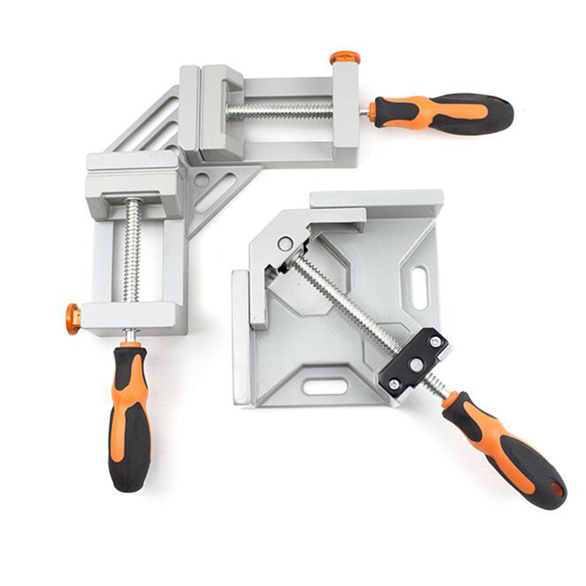 Aluminium Single Handle 90 Degree Right Angle Clamp Photo Frame Corner Clip Woodworking Vise Workbenches