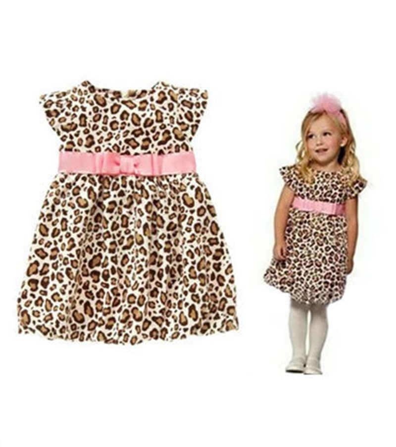 e3bb673901d Дети леопардовое платье бальное платье для девочек Дети розовым бантом  Vestido летние костюмы для детей для