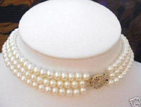 FREE SHIPPING HOT sell new Style >>>>3 ROWS 7 8MM White Akoya Cultured Pearl Choker Necklace 16 18 fut