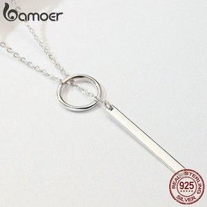 Image 3 - BAMOER 本物の 925 スターリングシルバーラウンドサークルライン幾何ペンダントネックレス女性のためのスターリングシルバージュエリー SCN304