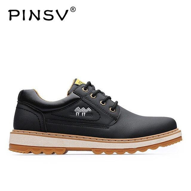 PINSV botki mężczyźni buty robocze czarny jesień zimowe buty skórzane męskie obuwie Zapatos Hombre Plus rozmiar 38-45