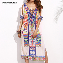 купить 2019 Summer Geometric Print Women  Beach Midi Dress Criss Cross Lace up Side Split Short Sleeve Dresses дешево