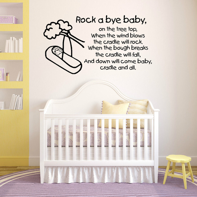 Rock A Bye Baby Wall Stickers Quote Nursery Rhymes Childrens Kids Room Nontoxic Pvc Text