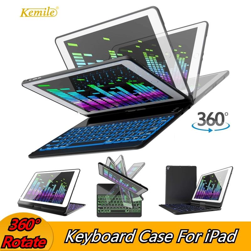 Étui pour iPad Pro 11 10.5 9.7 360 Rotatio sans fil Bluetooth rétro-éclairé clavier couverture funda pour iPad 9.7 2018 2017 6th Air 2 étui