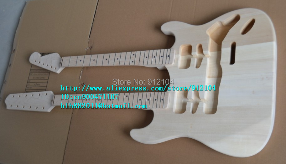 free shipping wholesale and retail new unfinished double neck electric guitar F-1466+foam box new unfinished electric guitar body with sticking tiger stripes not painted free shipping foam box