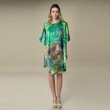 Шелковое атласное платье из натурального шелка тутового шелкопряда женские платья размера плюс домашнее платье с цифровым принтом зеленого цвета