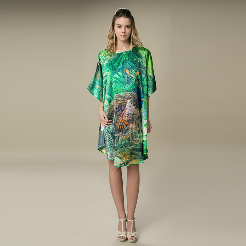 100%  Silk Satin Dress Natural Mulberry Silk Women Dresses Plus Size Home Dress Digital Printed Dress Green Color Free Shipping