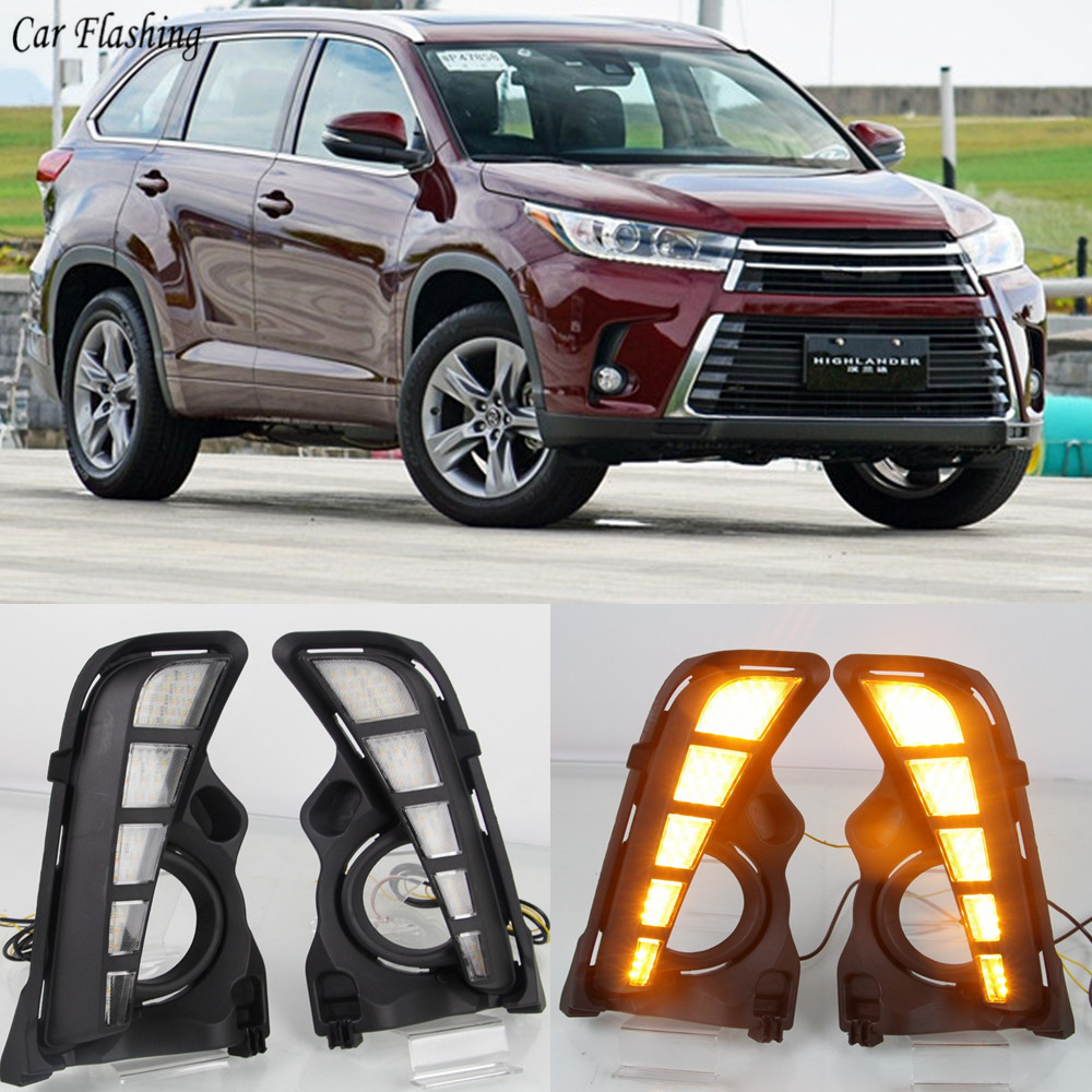 Car flashing 2PCS LED Daytime Running Light Car Accessories Waterproof 12V DRL Fog Lamp Cover For