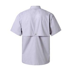 Image 5 - קצר שרוול דיג מזדמן חולצות הפתילה בד שמש הגנת מהיר יבש חיצוני גברים של קיץ חולצות לנשימה קמפינג חולצות