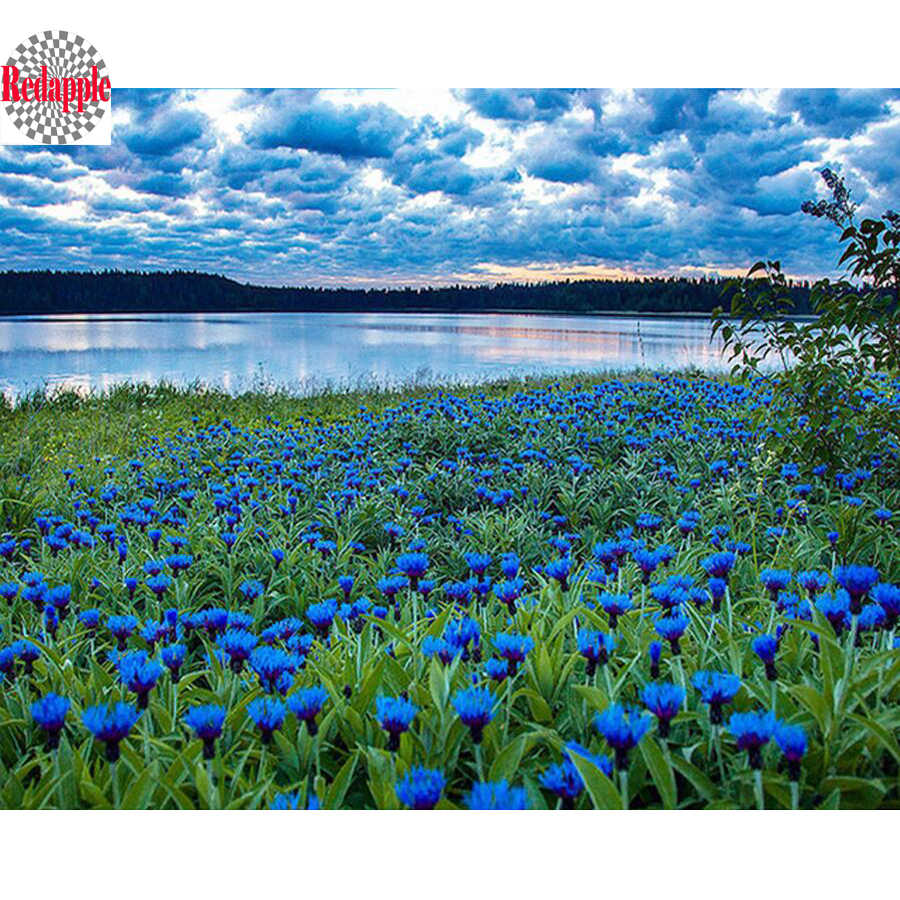 Diamond Painting Blue Cornflower Mosaic DIY 3D Diamond Embroidery flower sea natural scenery Paintings Needlework lake landscape