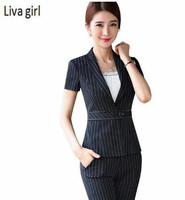 Work Wear Set Women Fashion Stripe Pant Suits OL New Summer Formal Single Button Blazer Trousers