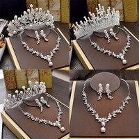 Роскошные свадебные свадебное ожерелье комплекты для невест Ювелирные изделия жемчужная Тиара серьги с короной набор для дня рождения Для ...