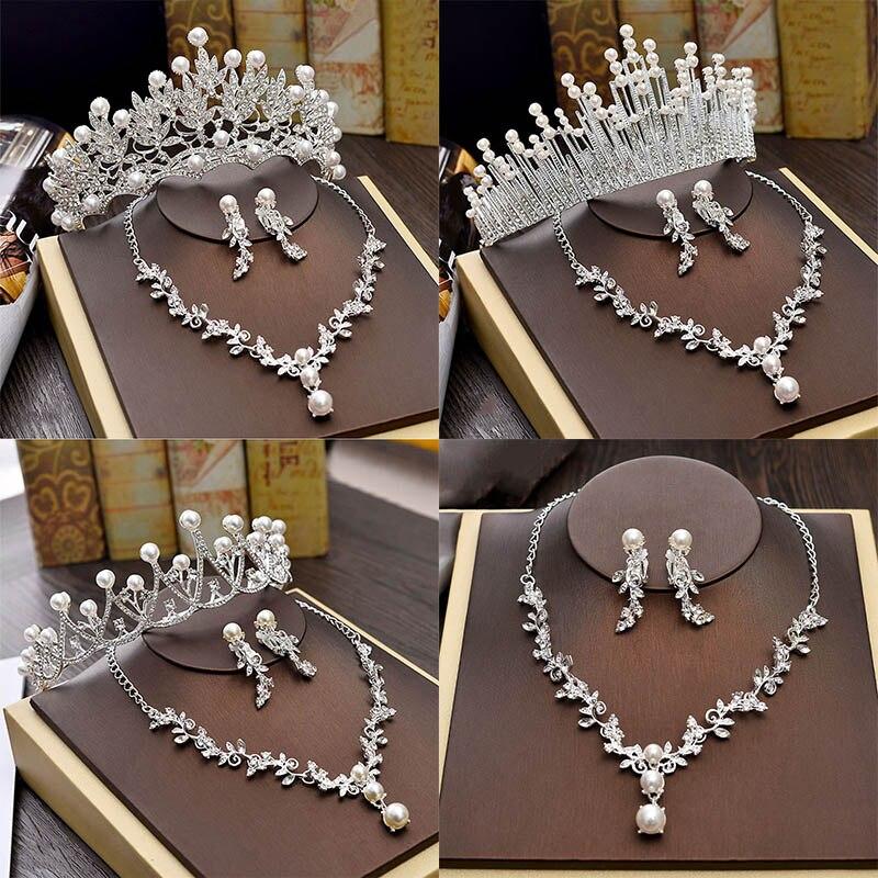6faefdf729e3 Conjuntos de joyería de boda de lujo collar nupcial para novias joyería  perla Tiara pendientes Set cumpleaños fiesta Mujer Accesorios