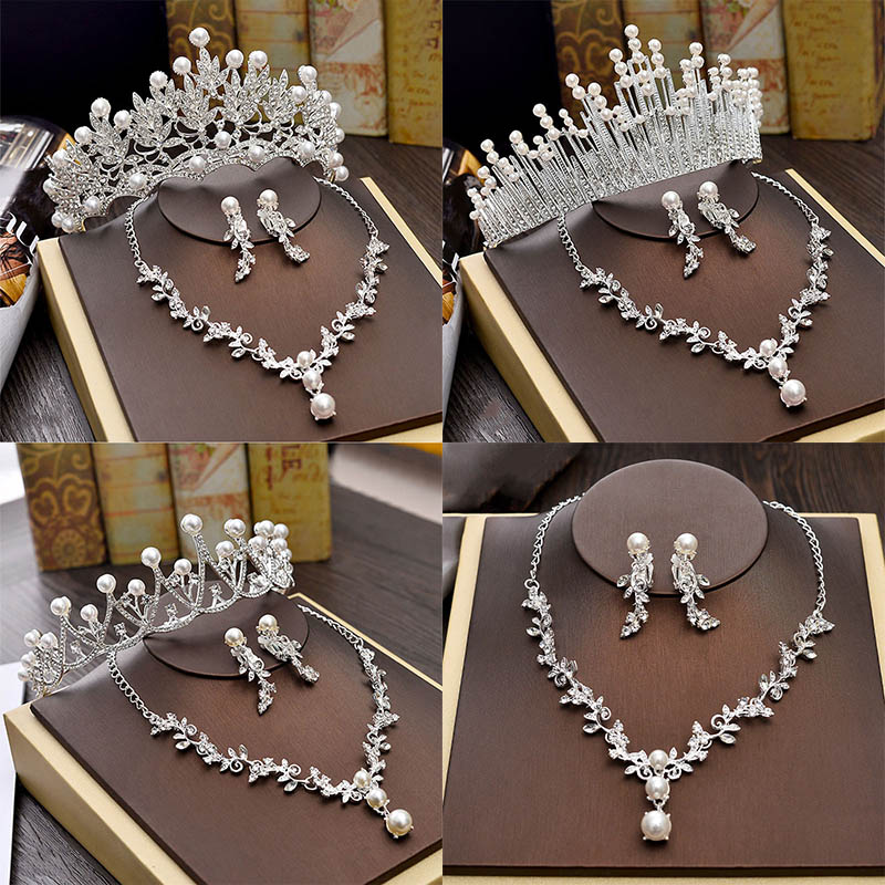 Luxury Bridal Necklace Wedding Jewelry Sets for Brides Jewellery Pearl Tiara Crown Earrings Set Birthday Party Women Accessories