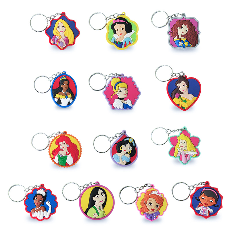 20PCS Lovely Princess Cartoon Figure Key Chain Belle PVC Anime Key Ring Kids Toy Pendant Keychain Children Key Holder Xmas Gift