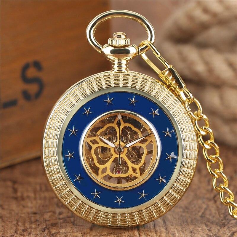High Quality Unisex Retro Bronze Star Deisgn Skeleton Mechanical Pocket Watch Roman Numerals Dial With Chain Pendant Best Gift