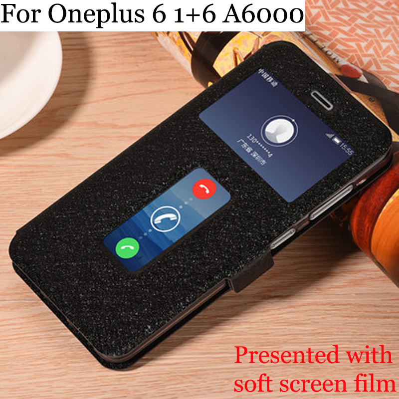 Open window cases For <font><b>OnePlus</b></font> 6 case PU leather skin Flip cover For OnePlus6 phone case For <font><b>OnePlus</b></font> <font><b>A6000</b></font> 1+6 shell fundas cover image