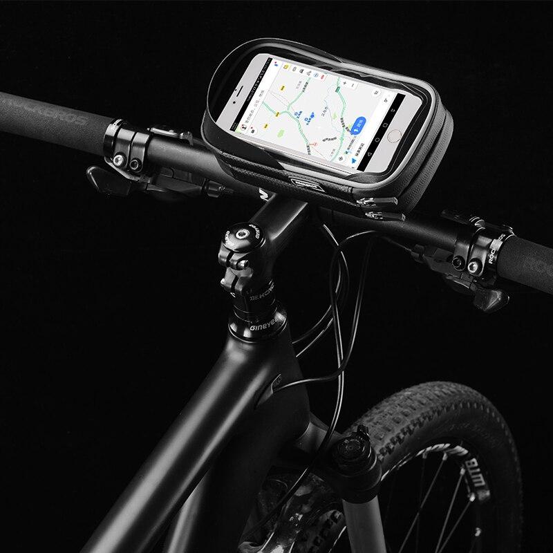 ROCKBROS Handlebar Phone Bag Rainproof TPU Touch Screen Black 6.0 Inch Bag