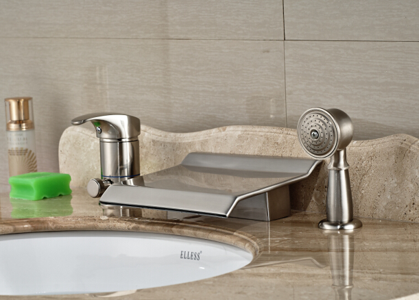 Brushed Nickel Faucet Waterfall Bathroom Spout Sink One: Modern Nickel Brushed Bathroom Deck Mounted Waterfall