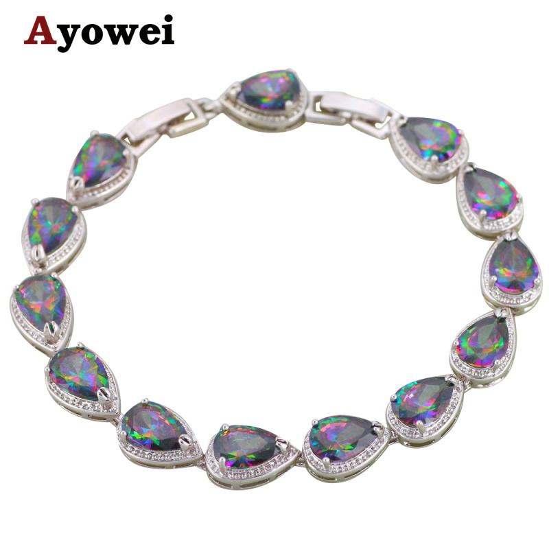 Ayowei Trendy Water Drop Round Multi Crystal Charm Bracelets Silver Pated Fashion Jewelry TB1133A for Women Birthday Gift