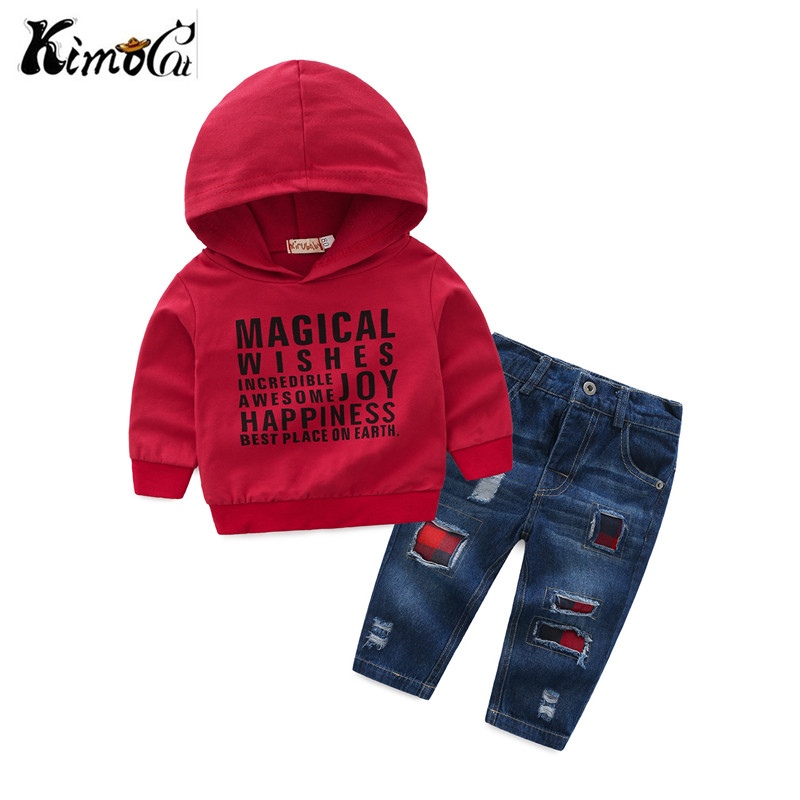 Kimocat kids clothes Spring and autumn Red letters hooded sweater+Patched jeans2 pieces casual outfit girls clothes se't