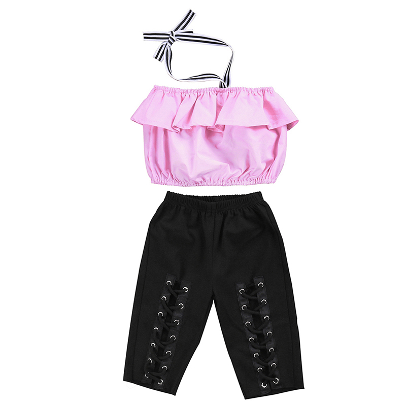 2017 New Fashion Children Girls Clothes Summer Sleeveless Halter Tank Tops+Bandage Pant Legging 2PCS Outfits Kids Clothing Set 2017 new fashion kid girls clothes little girls summer short sleeve t shirt tops and cute heart striped legging pant 2pcs 1 6y