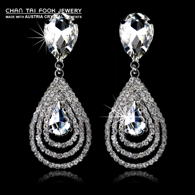 Ireacess New Luxury Vintage Silver Plated Full Swa Crystal Wedding Statement Earrings For Women Earrings For Statement Earringsstatement Earrings For Women Aliexpress