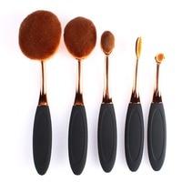 5 Piece Black Oval Toothbrush Cosmetic Makeup Brushes Kits Tools Face Foundation Powder Makeup Brush Set