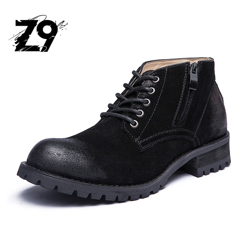 Top new men boots ankle fashion casual shoes style cowboy leather suede...