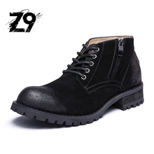 Популярные новые мужчины сапоги мода повседневная обувь стиль ковбой кожа замша квартиры шнуровке сезон осень зима японский дизайнер