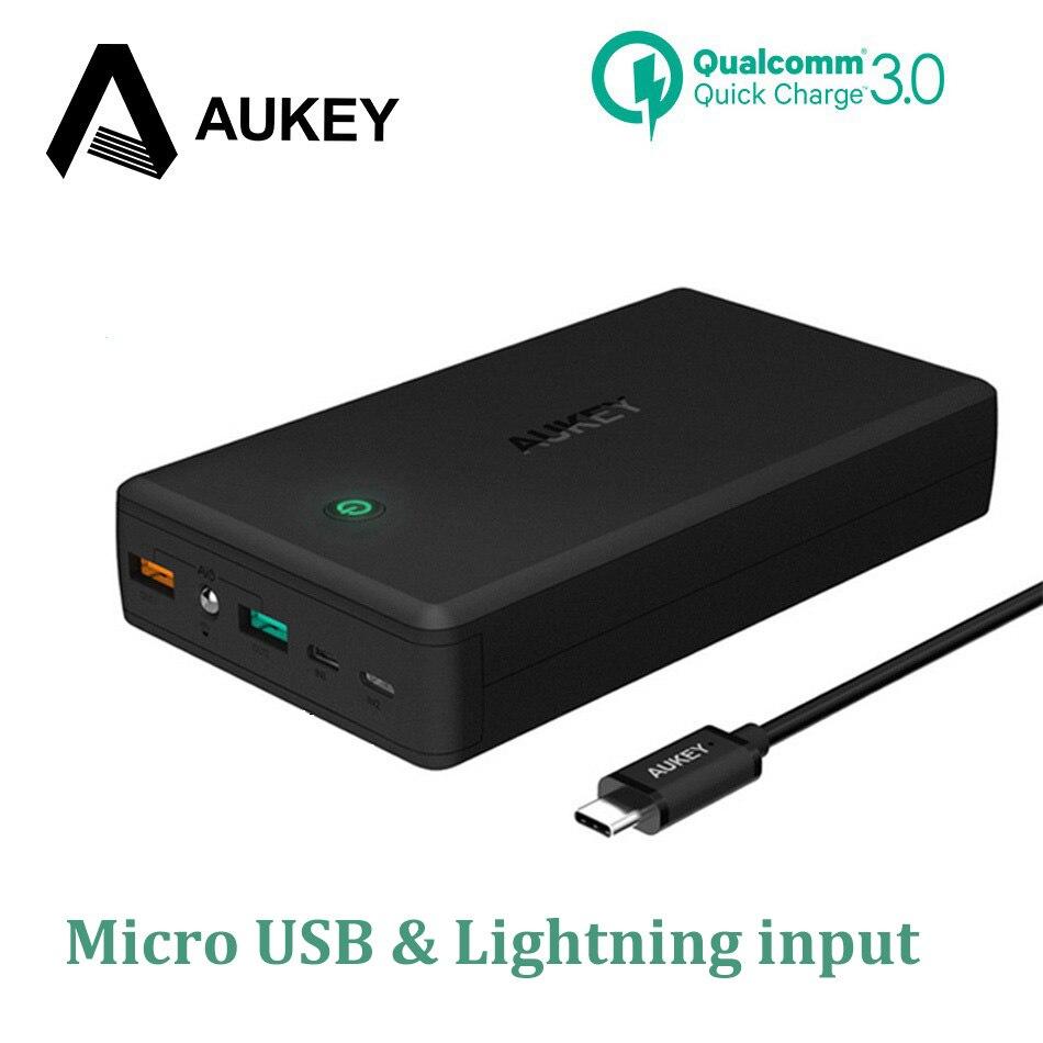 Aukey carga rápida Baterías portátiles 30000 mAh batería externa qc3.0 cargador portátil powerbank para iPhone 8 7 6 más Huawei samsung
