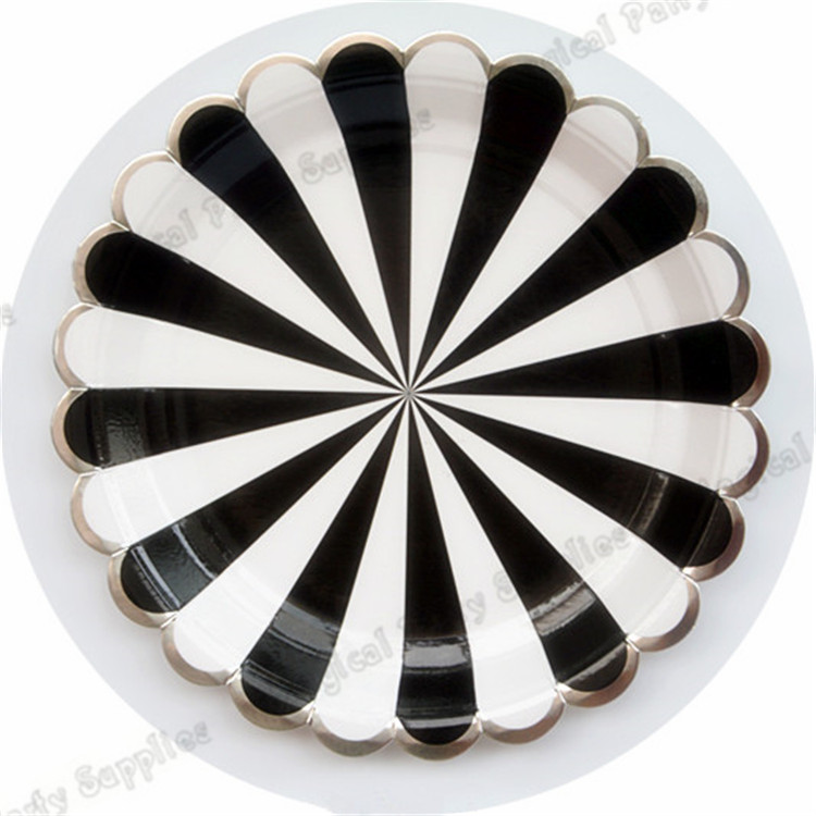 40pcs Large Black Striped Paper Plates Black and White Stripe with Silver Scallop Tableware Cups Napkins Wedding Party Supplies-in Disposable Party ...  sc 1 st  AliExpress.com & 40pcs Large Black Striped Paper Plates Black and White Stripe with ...