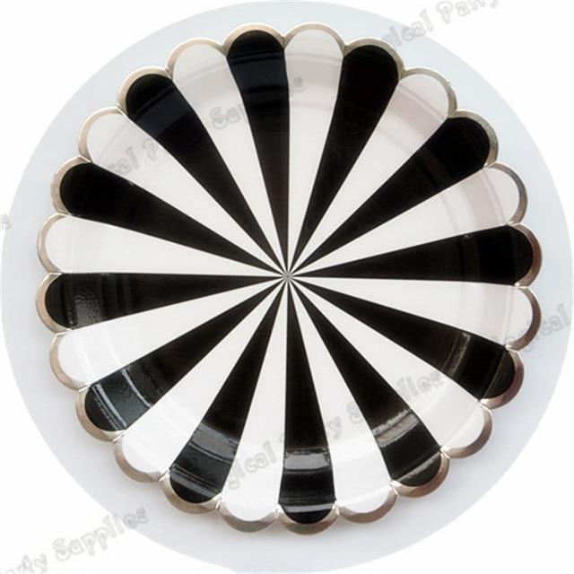 40pcs Large Black Striped Paper Plates Black and White Stripe with Silver Scallop Tableware Cups Napkins  sc 1 st  AliExpress.com & 40pcs Large Black Striped Paper Plates Black and White Stripe with ...