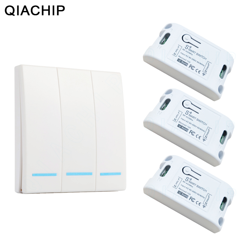 QIACHIP 433Mhz Smart Wireless Switch Light RF Remote Control AC 110V 220V Receiver Wall Panel Push Button Bedroom Ceiling Lamp