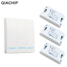 QIACHIP 433Mhz Smart Wireless Schalter Licht RF Fernbedienung AC 110V 220V Empfänger Wand Panel Push Button schlafzimmer Decke Lampe(China)