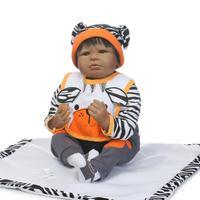 Black African American Reborn babies Girl Dolls 22 Inch cloth Body Silicone Reborn Babies For Kids Doll bebe real reborn