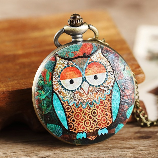 Vintage Full Hunter Mens Womens Pocket Watch Colorful Owl Case Big Dial Quartz W