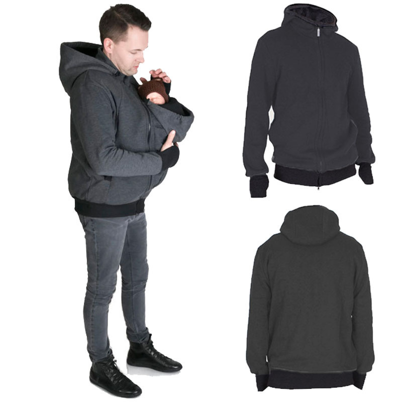 6cc2867ea Hoodies Dad Winter Kangaroo Cotton Baby Carrier Jackets Zipper Coat ...