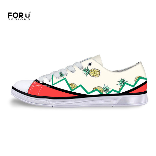 FORUDESIGNS Cartoon Pineapple Printing Men Low Ankle Canvas Shoes Lovely  Lace-Up College Student Spring Casual Ladies Flats e17e90411e29
