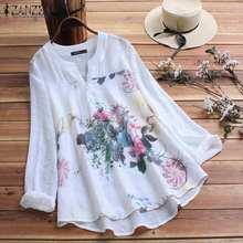 ZANZEA Vintage Printed Shirt Women's Tunic Autumn Blouse 2021 Floral Casual Blusas Female Long Sleeve Shirts Plus Size S-5XL