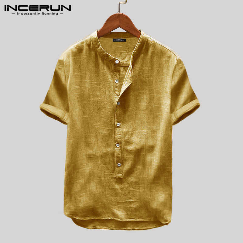 Incerun Zomer Heren Shirt Korte Mouw Effen Kleur Harajuku Blouse Mode Ademend Straat Casual Shirts Mannen Camisa 2020 S- 5XL