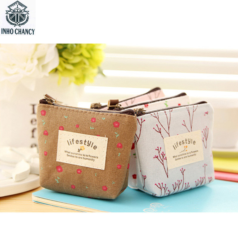 INHO CHANCY Korean & Japan Style Printing Floral Linen Small Coin Purse Mini  Wallets Pastoral Wind Girl's Little Change Bags hot small fresh forest female wind pastoral floral mini small school bag cute school bags coin purse student coin purse
