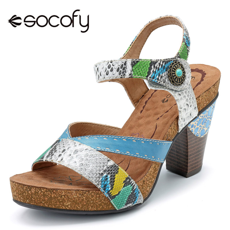 Socofy Bohemian Cross-strap Sandals Women Snake Veins Genuine Leather Slingback Sandals Women Shoes Hook&Loop Block High Heels socofy bohemian genuine leather shoes women sandals vintage printing forest hook loop wedge heel women slippers summer new