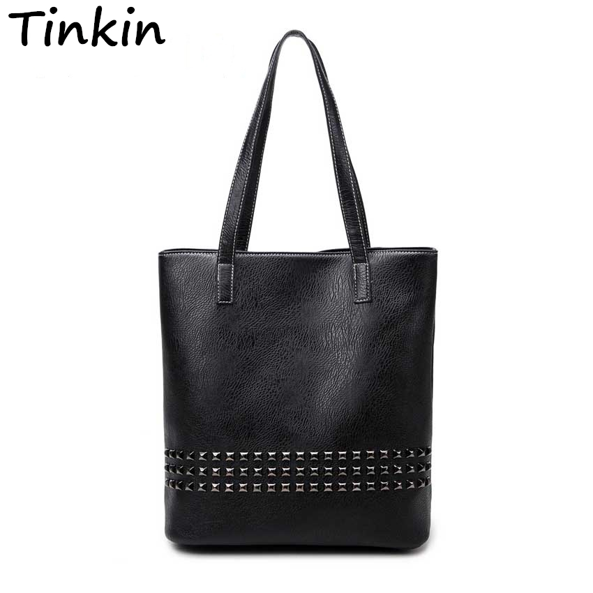 Tinkin New Arrival Autumn Bag Large Size Women Shoulder Bag Daily Vintage Women Messenger Bag Causal Rivet Bag
