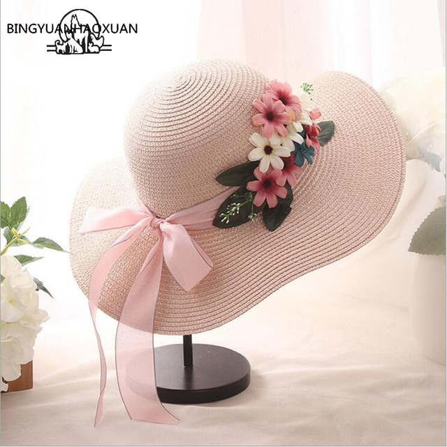 4a4d3225320 BINGYUANHAOXUAN Wide Brim Floppy Straw Sun Hat Beach Women Hat Foldable Summer  UV Protect Travel Cap Ladies Casual Cap Female